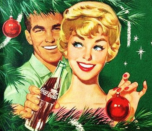 With you it's Holiday magic! ~ Christmas Coca Cola ad. ca. 1950s.