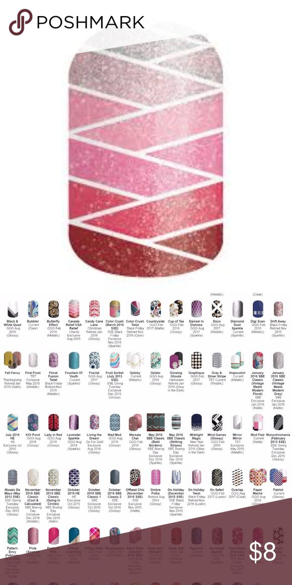 NWOT Jamberry - Canada Relief Out of the envelope full sheet of Jamberry Nail Wraps.   All standard wraps are $8, premium are $10 and are Buy 4 Get 1 FREE!!!! Just make a bundle of your fave 5 (or 10 or 15)   I have over 100 wraps to upload and it will take me a few days. I've included a collage of the first batch. If you see something you want, let me know and I will upload it so you can add it to your bundle! Jamberry Makeup
