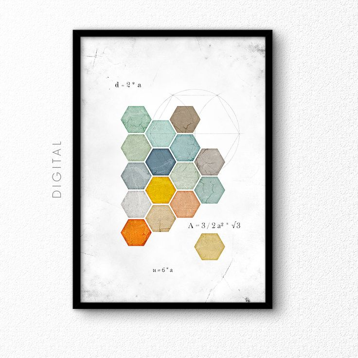 Printable geometric hexagons in muted colours. Large format that prints up to 24x36 or 60x90 cm. Distressed design with some math formula and construction lines added. Great gift for a pupil, student or mathematician.  Goes well together with my geometric squares print: http://etsy.me/2sdBNfs  ►►► DIGITAL DOWNLOAD - NO PHYSICAL ITEM will be sent. ►►► Your files will not have any visible watermarks!  After payment is received you will be directed to Etsys Download-Link from whic...