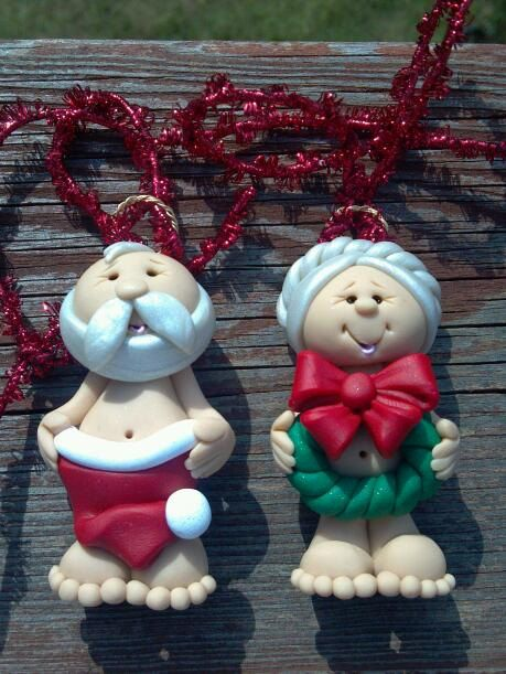Naughty Mr. & Mrs. Claus Polymer Clay Ornament Set by AlishaTodd, $22.00