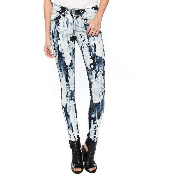 Rag & Bone/JEAN Tie Dye Skinny Jean ($149) ❤ liked on Polyvore featuring jeans, rivera, bleached jeans, dark wash skinny jeans, tie dye jeans, white skinny leg jeans and white denim skinny jeans