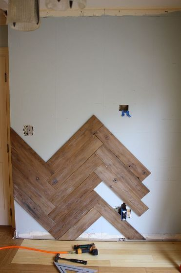 Stunning Herringbone Plank Wall Upcycled From An Old