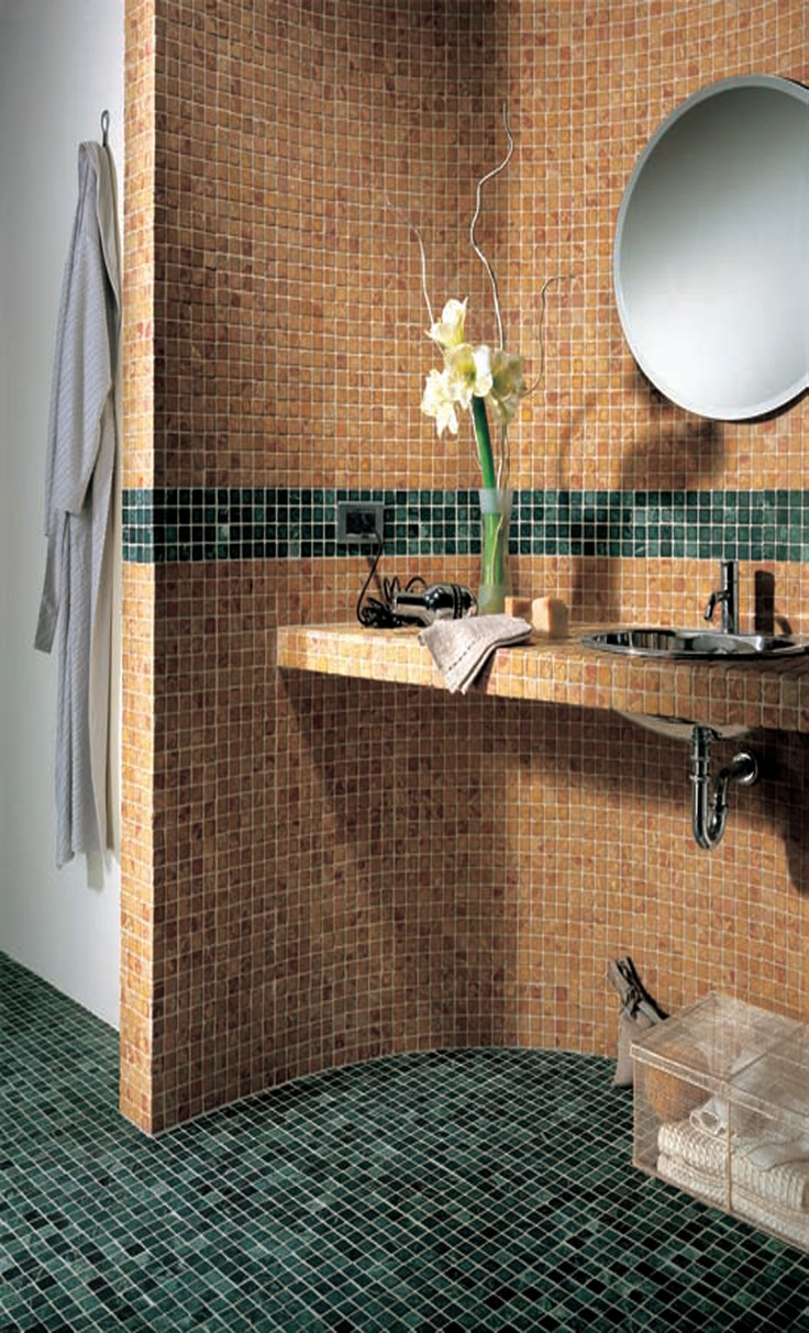 Warm yellow and ochre #marble #mosaics with listello and floor accents in a refreshing green marble mosaic. #UnionTiles