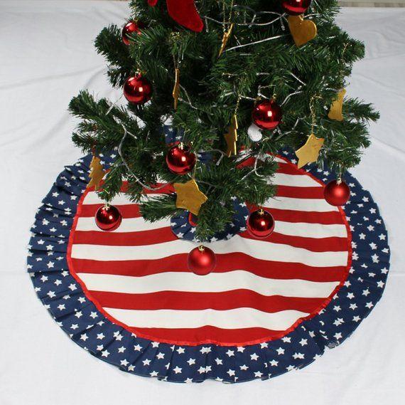 Stars And Stripes Christmas Tree Skirt Patriotic Christmas American Christmas Us Flag Red White Tree Skirt Flag Skirt Star Tree Skirt Patriotic Christmas Christmas Tree Skirt White Tree Skirt