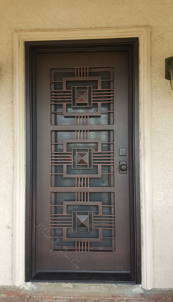 Art Deco single door manufactured by UID. Call now (818)771.1003 to get & 153 best Wrought Iron Doors images on Pinterest | Wrought iron doors ...