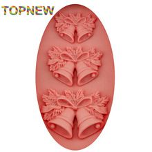 Tope New Arrived 2016 NEW Selling Chrismas Bells Shaped Silicone Molds Chocolate Candle Cookie Mould Cake Decorating Tools C3029(China (Mainland))