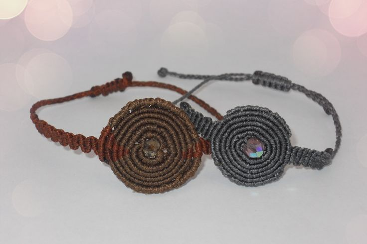 Macrame spiral bracelets with glass beads