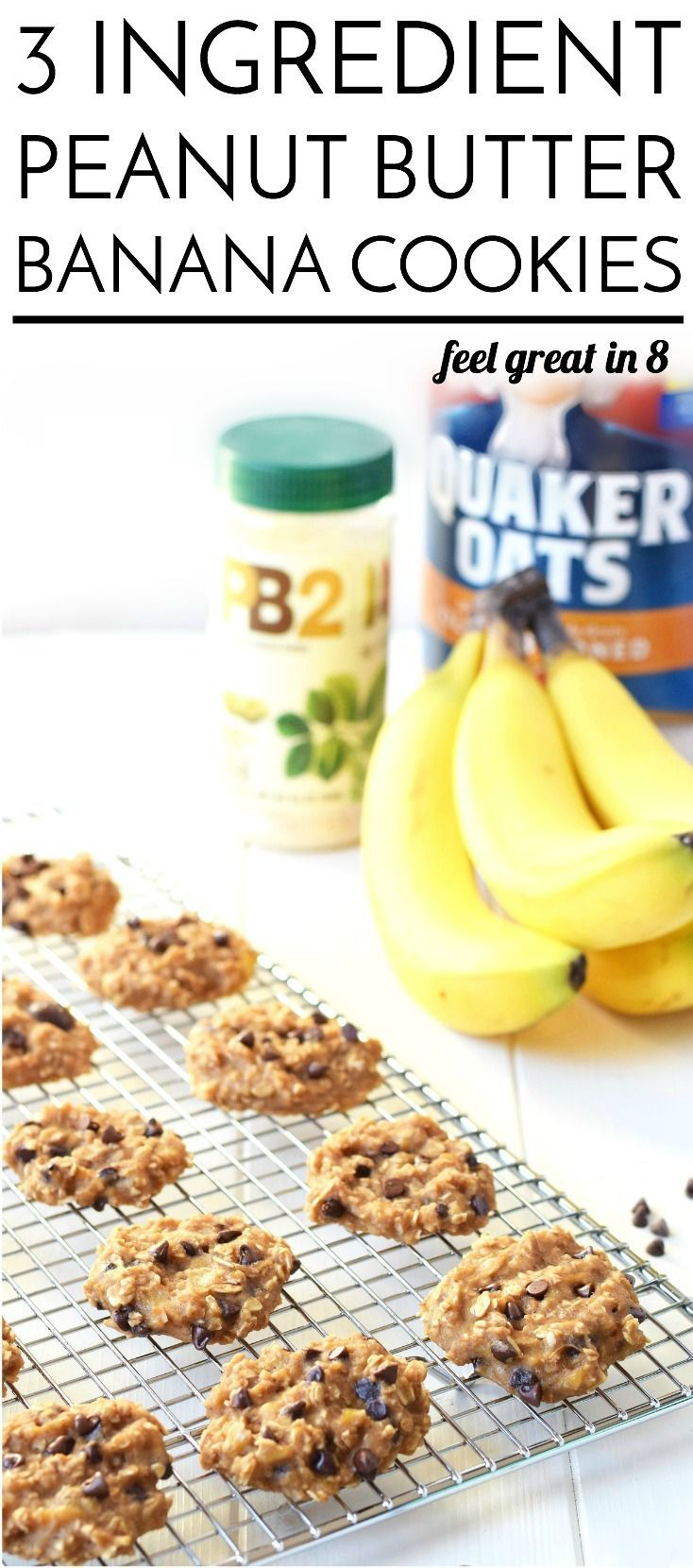 3 Ingredient Peanut Butter Banana Cookies - Made with only bananas, oats, PB2 (and your choice of mix-ins), these cookies are less than 50 calories each and healthy enough to be breakfast!