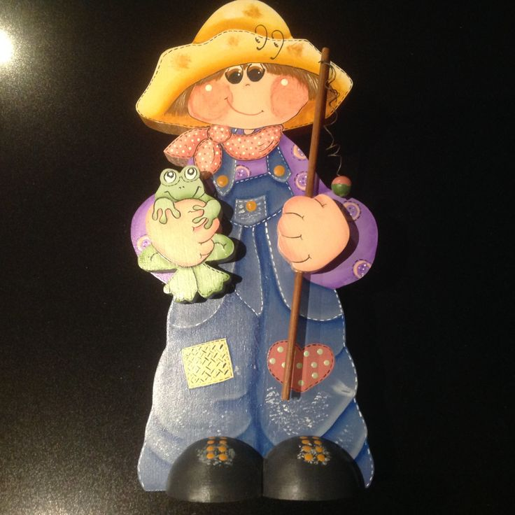 Wooden folk art - 'Willy B' by Sweetsundaycharm on Etsy