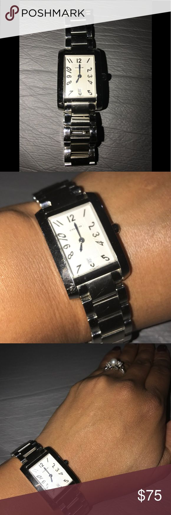 Coach Silver Watch. Is a beautiful stainless steel, water resistant Swiss Made watch, has been so far my worse purchase here at Poshmark, I LOVED it for my daughter and to be honest didn't even bother to ask any questions and seller had not major details on it, I think I overpaid it and it doesn't even work!! My purchases go 2 my PO BOX and most of the times I accept with out looking at the product so seller gets paid quickly, I'll replace the battery to make sure this Watch…