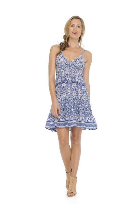 KALON DRESS --  Mini dress, fitted on the bust, with spaghetti straps and loose body handmade printing.