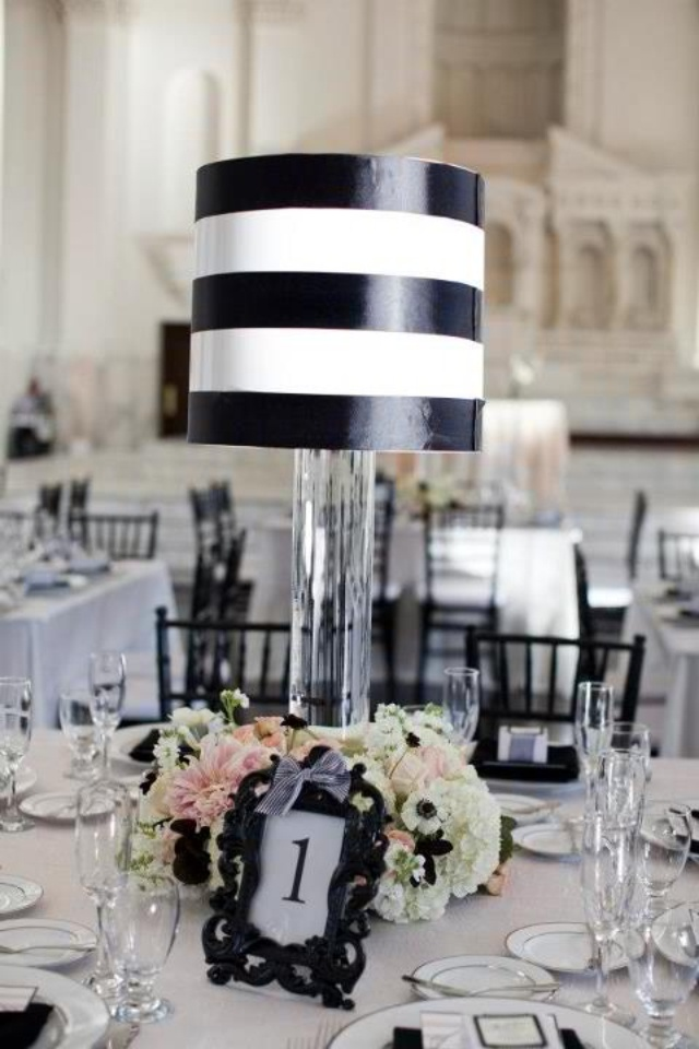 Black white lampshade centerpieces i made for my wedding