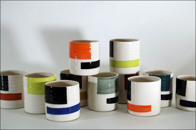 james aarons: ceramic artist: porcelain tumblers