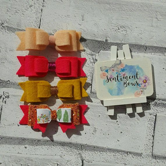 Check out this item in my Etsy shop https://www.etsy.com/uk/listing/522554791/set-of-felt-bows-hair-bow-set-bright-bow