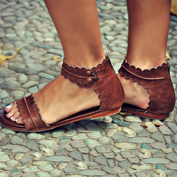 Sandals Retro Ankle Strap Back Zipper Sandals   Brown