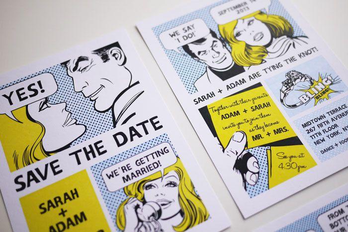 Comic book style wedding invitation.