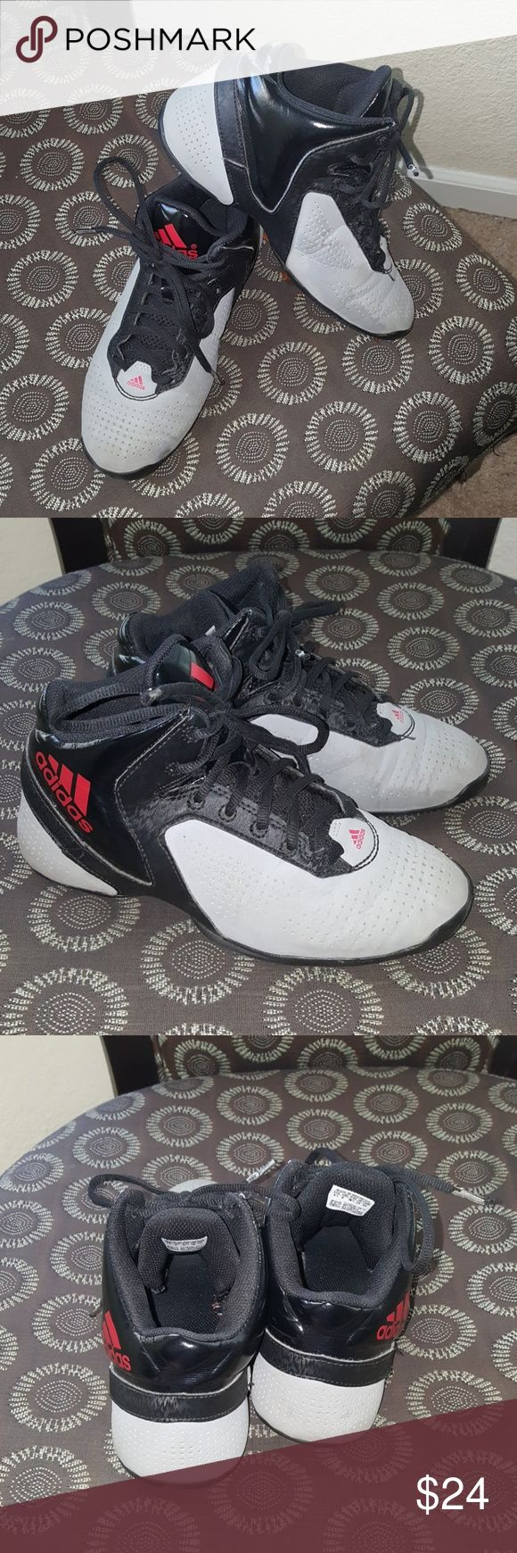 Adidas basketball shoes Gray, black, red Adidas basketball shoes. Size 4 and 1/2 in boys. Gently used. Good condition. adidas Shoes Sneakers