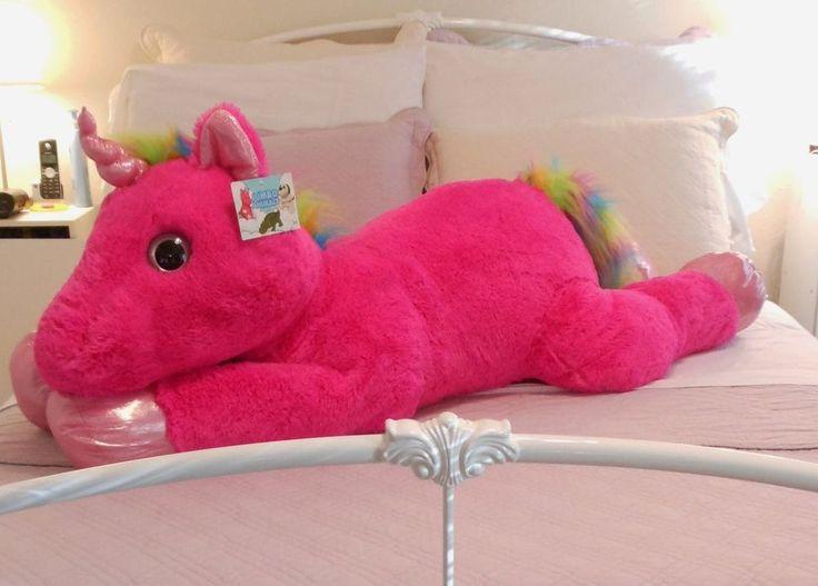 4 5 ft giant pink unicorn pony floppy plush stuffed animal adorable very soft. Black Bedroom Furniture Sets. Home Design Ideas