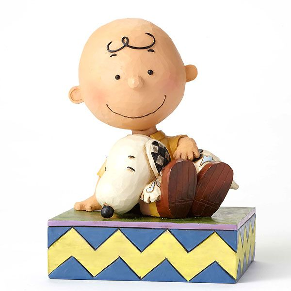 Peanuts - Charlie Brown Holding Snoopy - Happiness is Snuggling - Jim Shore - World-Wide-Art.com