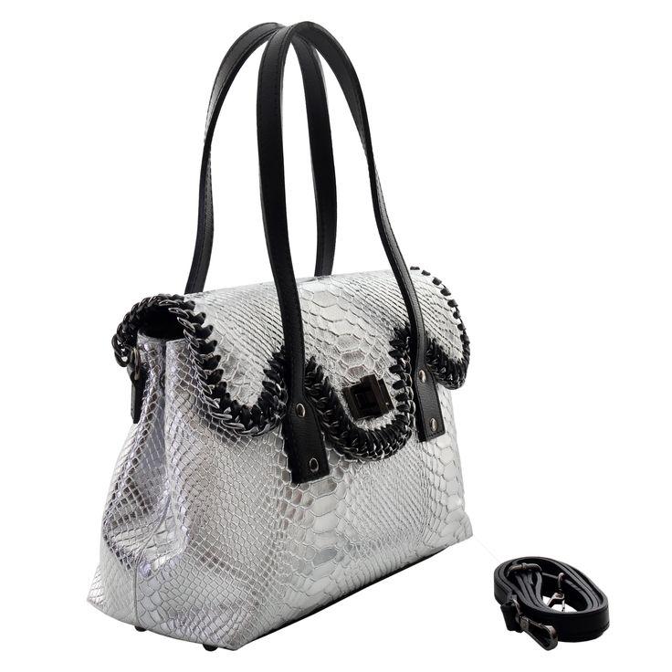 Marlafiji Mel Silver Python effect Italian leather Handbag www.marlafiji.com FREE SHIPPING WITHIN AUSTRALIA