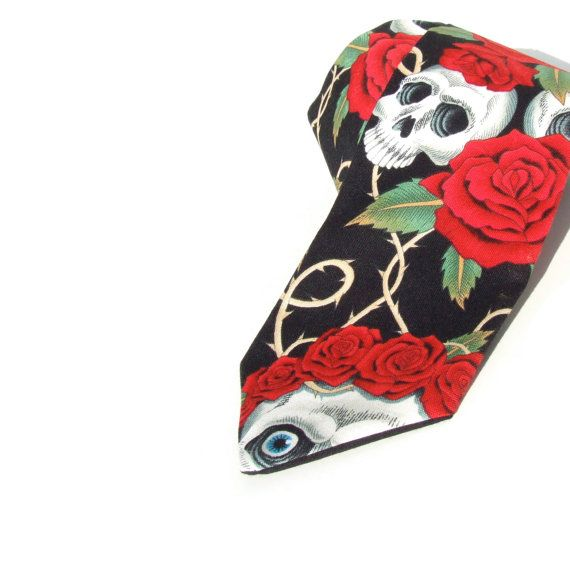 Skull and Roses Day of the Dead Necktie, Mens tie on Etsy, $25.00
