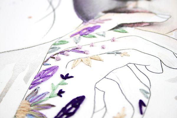 Manos dibujadas y bordadas Almu Ruiz. Embridery art.