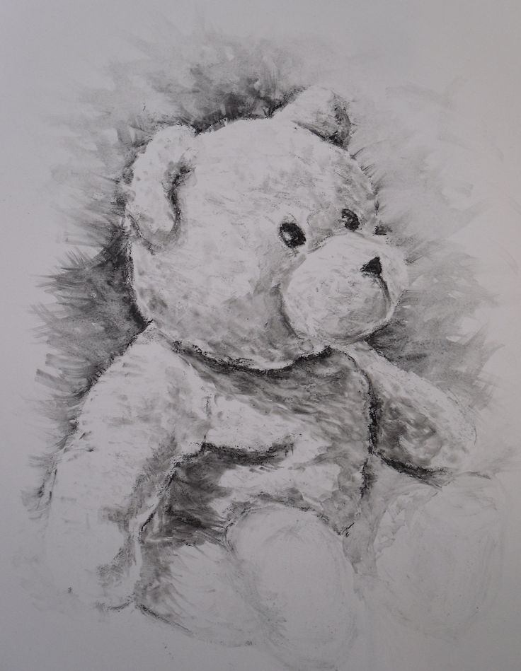 Teddy, done in charcoal wash on Yupo paper.