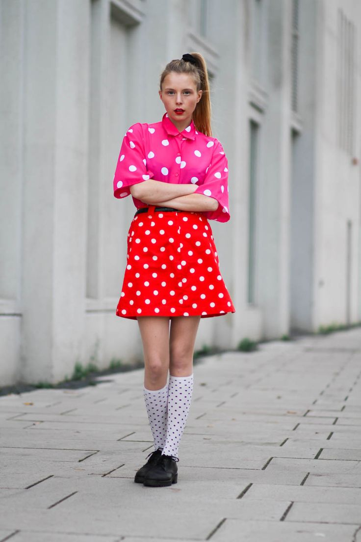 Danish blogger Marie Jensen of Nemesis, babe blog wearing second hand outfit. Pink polka dot shirt, red polka dot mini skirt, white textured coat, polka dot knee high socks from h&m, marni shoes, two tone lipstick from mac cosmetics, black scrunchie.   www.nemesisbabe.dk  Shop the look:  dot shirt: http://rstyle.me/n/s3tsc8y3w dot stockings: http://rstyle.me/n/s3twc8y3w shoes: http://rstyle.me/n/s3t2k8y3w red lipstick: http://rstyle.me/~1XLCe pink lipstick: http://rstyle.me/~2fK30