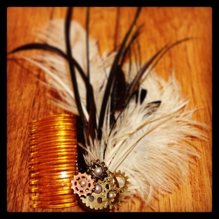 Steampunk feather hair piece | DIY Hair Bows Oh man lindsay this is totally you! you should do this for your hair!
