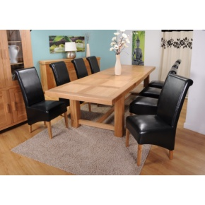 Grand Marseilles Large Oak Dining Table with 8 Krista Black Leather Chairs - Set  www.easyfurn.co.uk