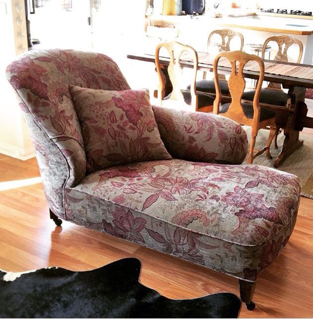 Chaise re-upholstered in Unique Fabrics Attica Rhubarb