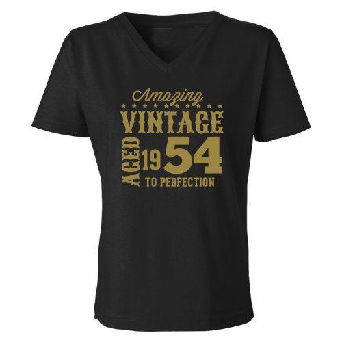 Festive Threads Amazing Vintage - 1954 Women's V-Neck T-Shirt (Black  Large)