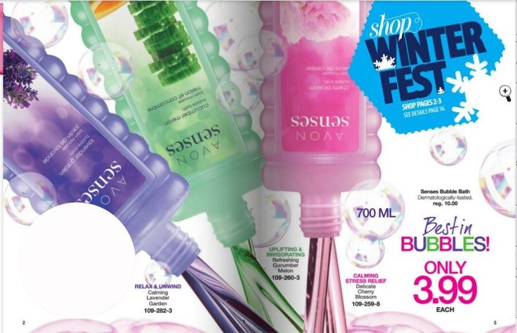 The biggest sale on one of Avon's best sellers is coming in C2 (starting December 28)!  Get select bubble baths (700ml) for only $3.99 (regular $10).  These will sell out before the campaign is over! I will send in the C2 order on January 8 however get these orders in today so that I can reserve them.  After these are reserved, take your time and look for more goodies and have everything else submitted by January 8!  Don't miss out!!