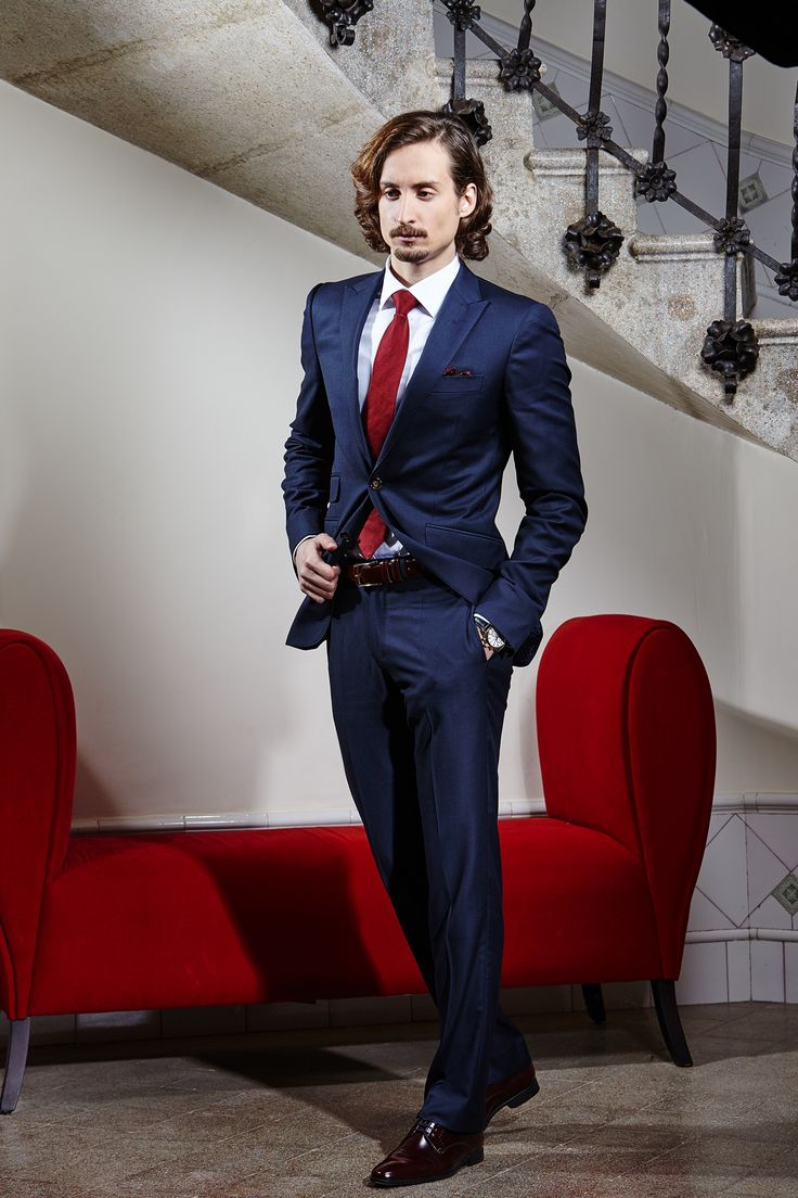 Men's midnight blue tailored two-piece suit.