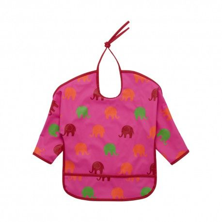 Apron bib, washable, pink with elephants, Celavi