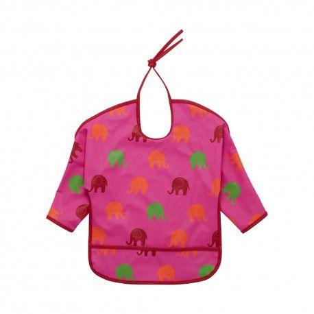 Apron bib, washable, pink with elephants, Celavi