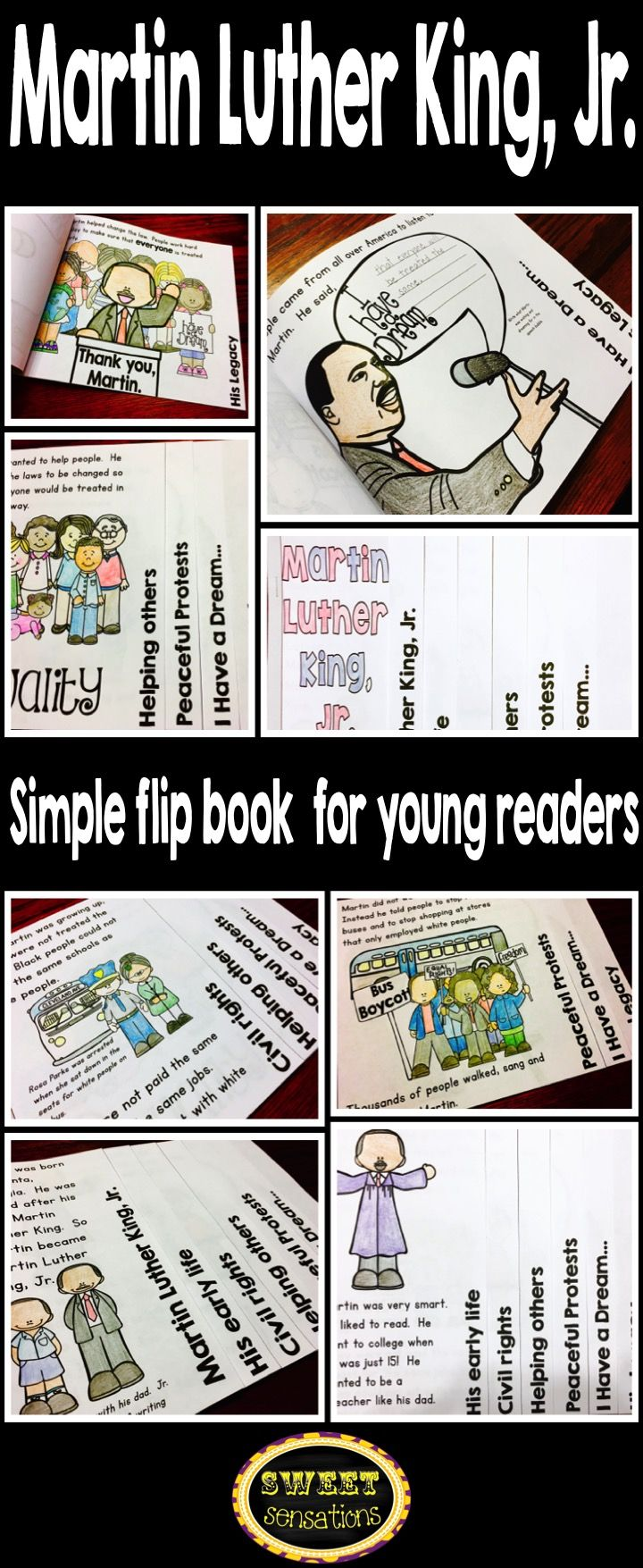 Bookmarks to color of dr king - Martin Luther King Simple Flip Book Reading Activity