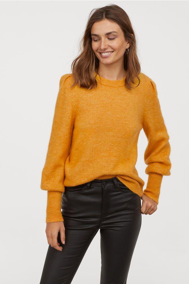 Knit Wool blend Sweater Yellow Ladies | H&M US 2 | Wool