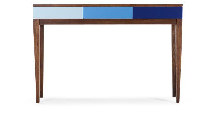 Vernay, console, frêne foncé et bleu