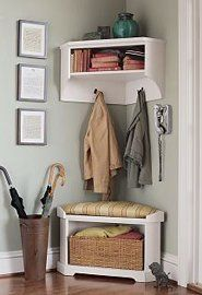 Corner Bench and Shelf - may replace front coat closet with something pretty and useful like this!