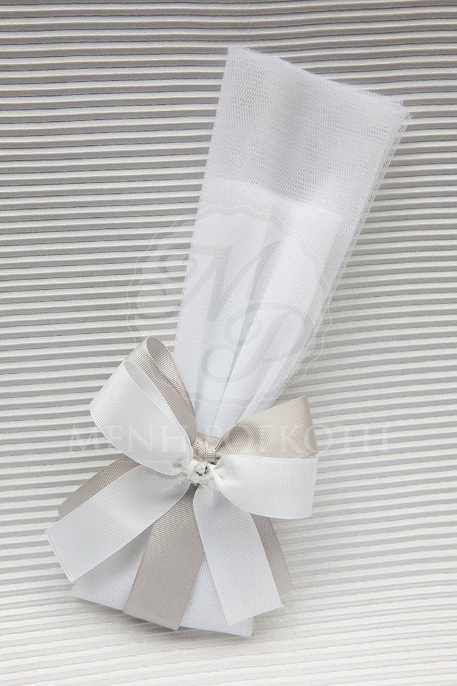 Μπομπονιέρα γάμου με διπλά φιογκάκια