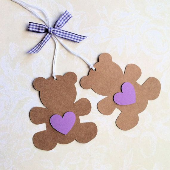 Teddy Bear Gift Tags. Baby shower, teddy bear's picnic, birthday parties. Natural brown Kraft bears with coloured hearts.