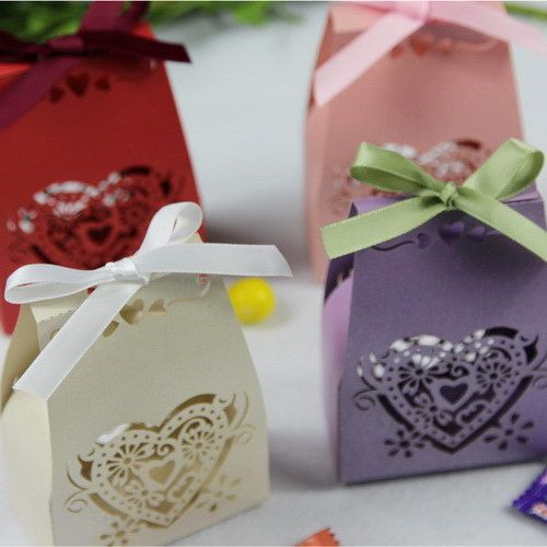 Romantic Pink Pearl Paper Laser Cut Favor Boxes For Wedding And Bridal Party EWFB042
