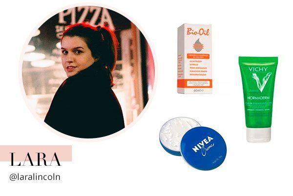 """""""Meu combo favorito para hidratar a pele: Nivea Creme + Bio-Oil. O Nivea é um dos hidratantes mais famosos ever e é extremamente poderoso. Gosto de pingar umas gotinhas do Bio Oil para potencializar a ação e melhorar o aspecto de manchinhas e cicatrizes na pele. Para o rosto, não fico sem o sabonete facial Normaderm, da Vichy, o melhor para controlar a oleosidade!"""""""