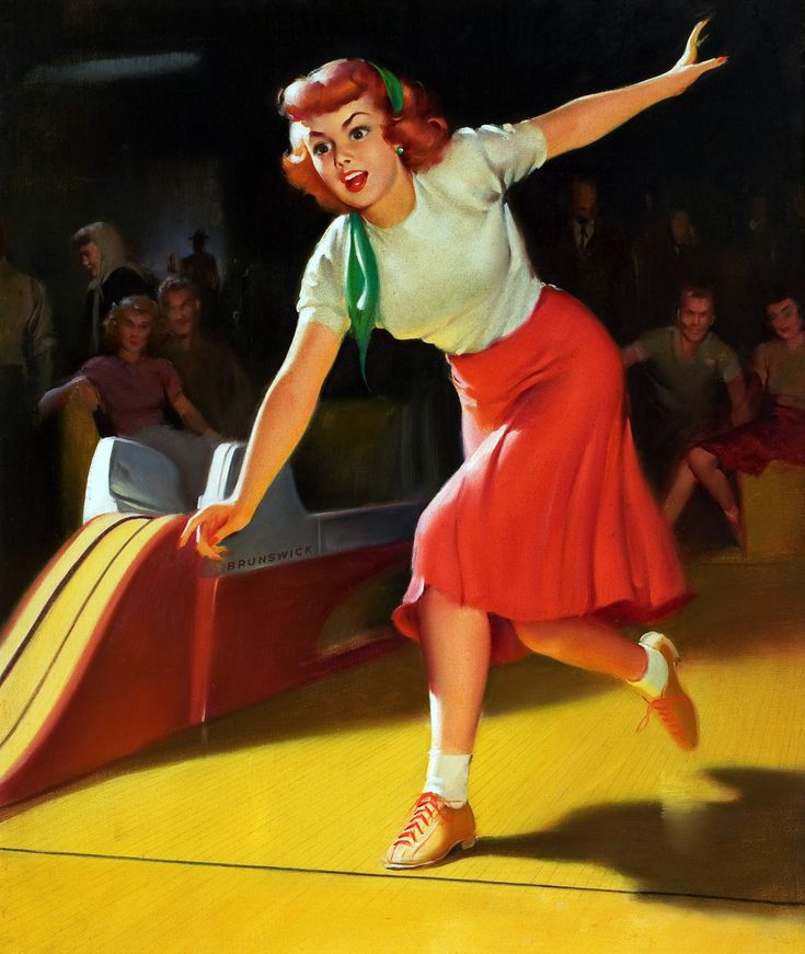 'Brunswick Bowling' - pin up art by William Medcalf, 1950s.