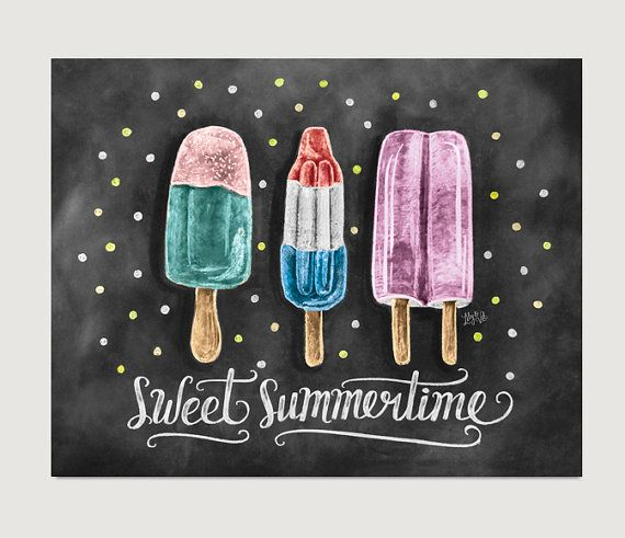 Sweet Summertime Popsicle Print - Chalkboard Art - Summer Kitchen Decor - Chalk Art - Popsicle Illustration - Hipster Art - Chalkboard Print