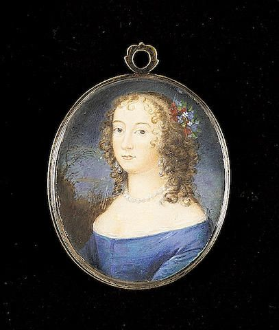 English School, A Lady, wearing blue dress, with white underslip, pearl necklace, double-drop pearl earrings and flowers in her hair (restored)