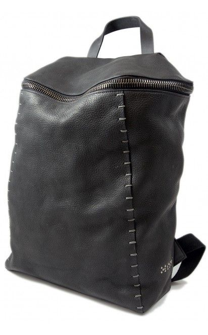 Jonas Olsson black pebbled leather backpack - unconventional store