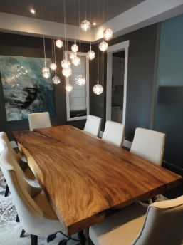 dining room with live edge table kitchen lighting ideas e