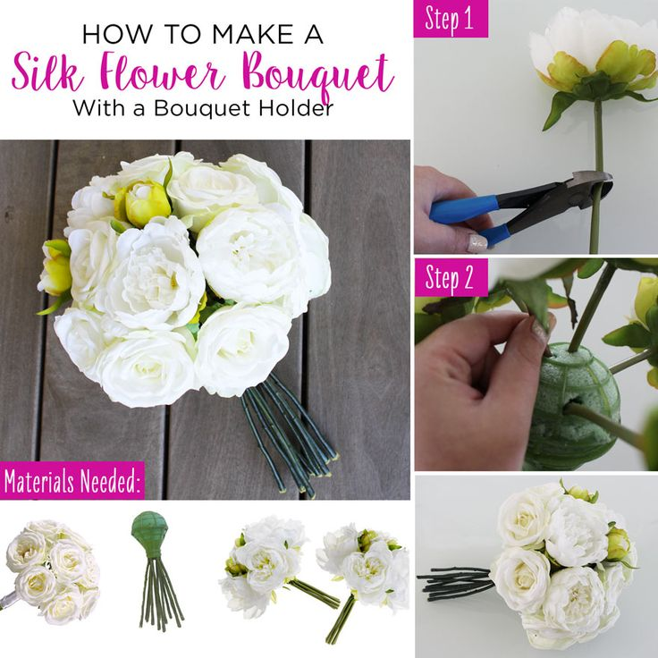 Making A Wedding Bouquet With Silk Flowers: How To Make A Silk Flower Bouquet With A Bouquet Holder